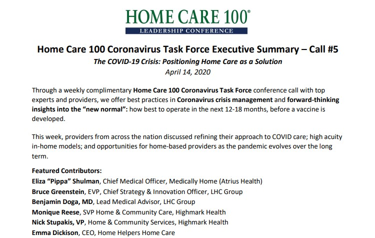 Home Care 100 Coronoavirus Task Force Executive Summary - Call #5